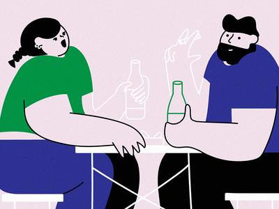 Späti life couple people holiday chill talking smoking beer drinks vector illustration