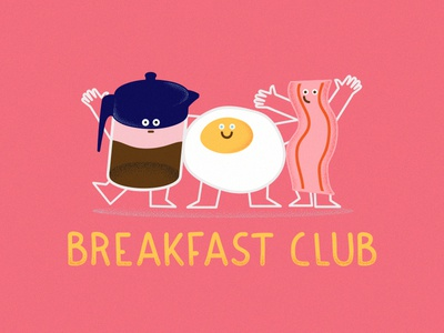 Sign me up! friends bacon coffee egg food club breakfast design character illustration