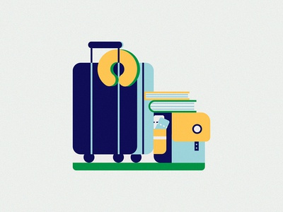Baggage trolley organised storage trip airport bags baggage tourist travel illustration