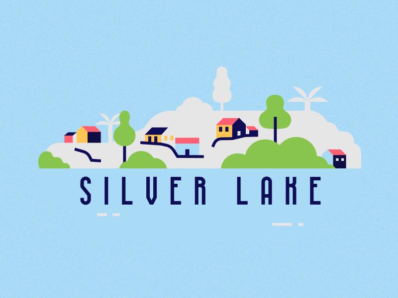 Silver Lake hollywood landscape silver la los angeles lake illustration