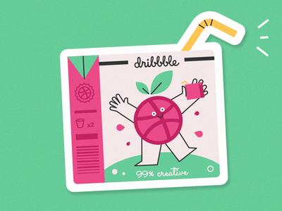Dribbble Juices! mule sticker dribbble juice creative character illustration