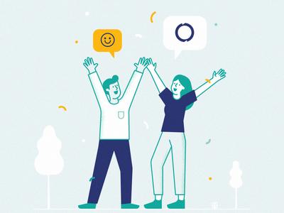 ☺ character couple happy celebrate reward recycle branding brand illustration