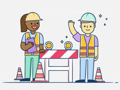 Under Maintenance traffic students construction maintenance online school brand illustration
