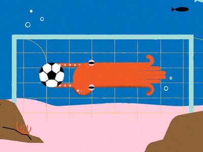 Krake editorial animal german language goal creature sea game football octopus illustration krake