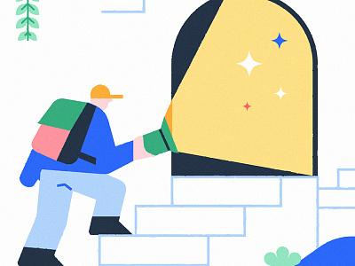 Explorer mystery flashlight backpack digital cave adventure illustration brand explorer