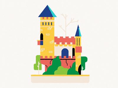 Tiny Castle hamburg forest minimal castle vector illustration