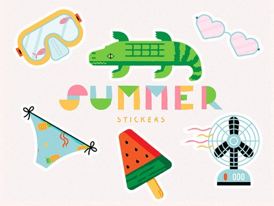 Summer Stickers water float ice cream hot bikini beach summer digital illustration sticker