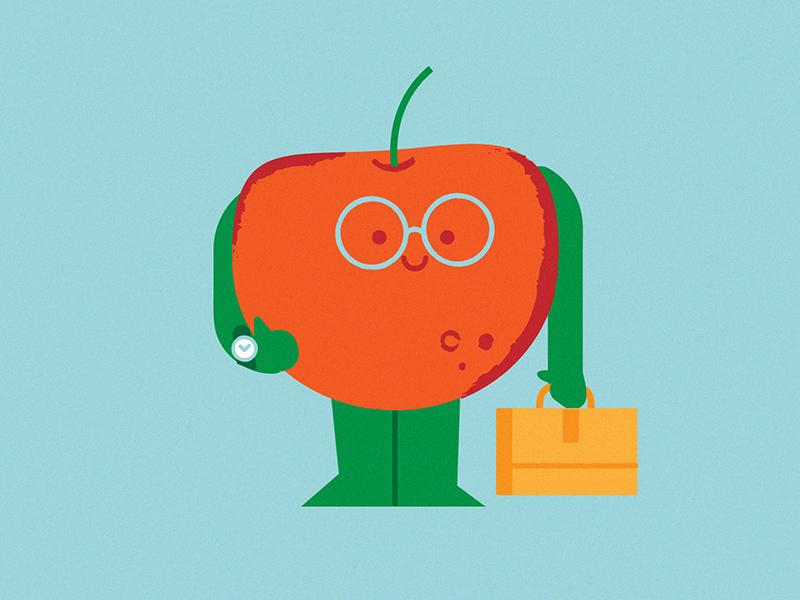 Back to work sticker work school fruit apple digital character vector illustration