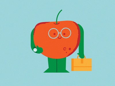 Back to work sticker work school fruit apple digital character vector illustration
