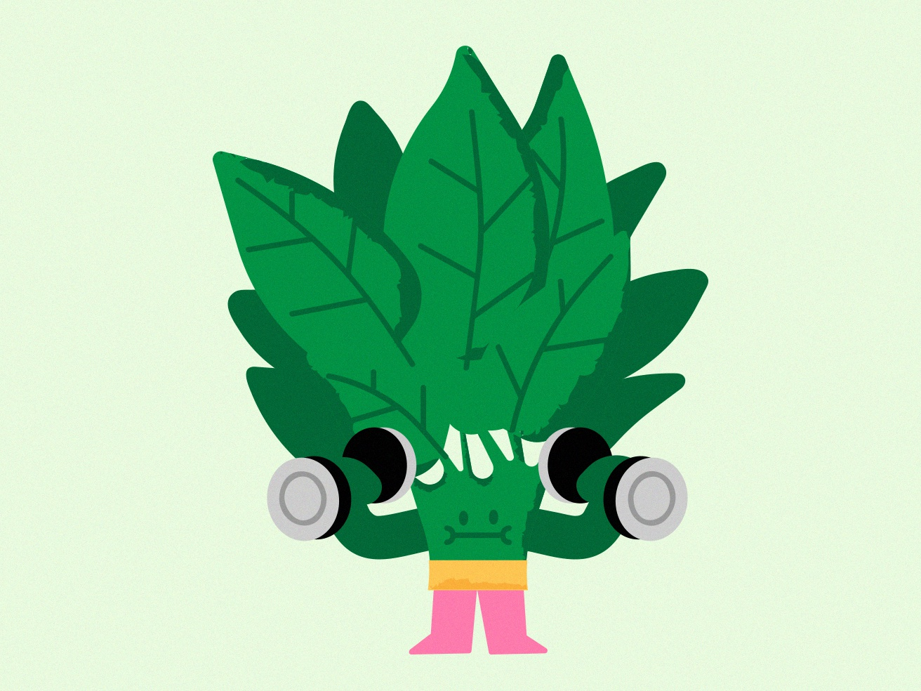 Spinach-ing gym strong chat sticker spinach vegetable vector digital character illustration