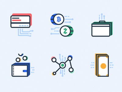 Crypto Icons ϟ vector design network wallet bitcoin currency exchange money currency crypto illustration icon
