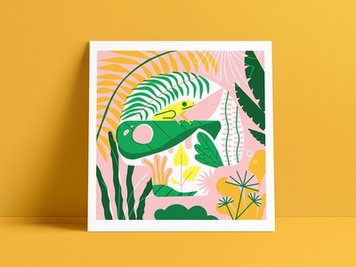Phyll Terribilis Giveaway poison frog jungle tropical nature risograph poster print vector illustration