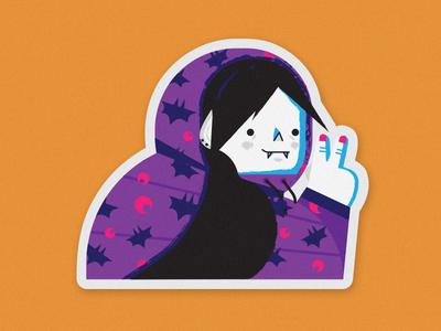 Vampira illustrator vector art night moon bat jacket cool halloween vampire print sticker