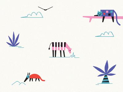 Music Jungle beats music flyer jungle anteater leopard zebra character vector illustration