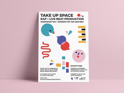 Take Up Space poster festival kids beat workshop music design print character vector illustration