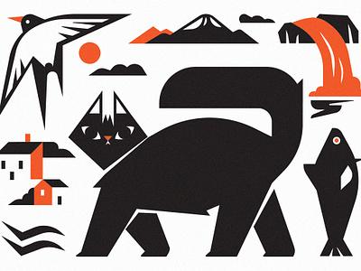 2.0.1.9. 2019 newyear calendar arctic bacalhau cat iceland print character design vector illustration