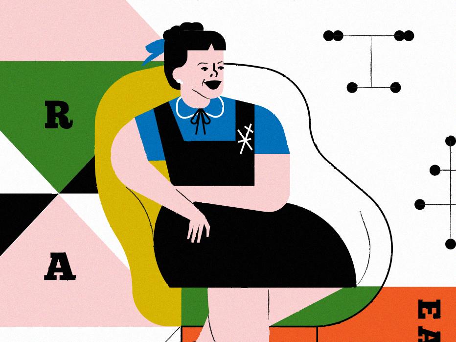 Ray Eames history women design portrait digital illustration