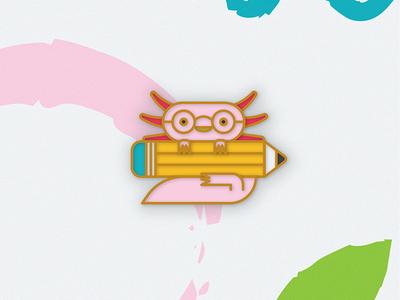 Axolot nature mexico axolotl enamel pin character icon illustration