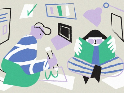 Work books analysis students study work blog editorial character vector illustration