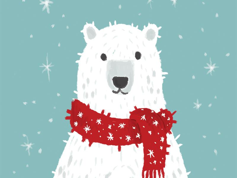 Polar Bear holiday card winter character cartoon drawing design shot illustration