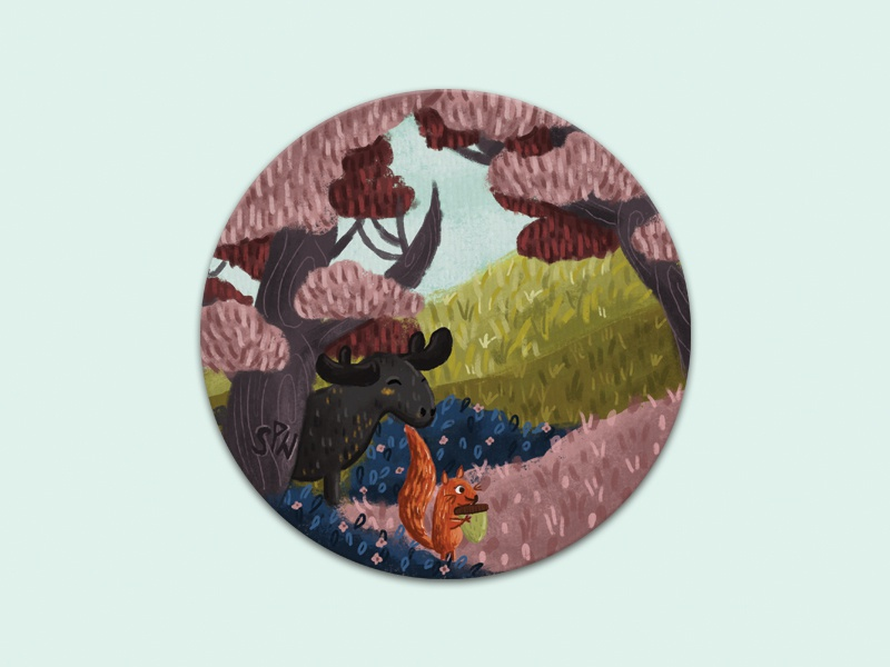 Forest friends playoffs coasters sticker mule animals illustrated forest animals forest character cartoon design drawing illustration