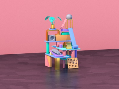 Stacks On Stacks cute flat illustration lines plant gold textures lowpoly gradient plants plastic metal geometric abstract c4d pink 3d shapes design