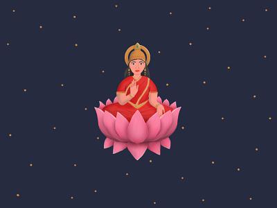 Goddess character pixel woman space gold religion stars diwali hindu colorful photoshop wealth drawing lotus flower lakshmi goddess pink cute design illustration