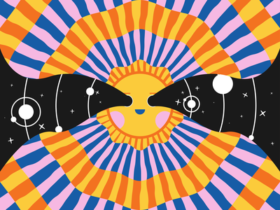 Cosmic Eyes color graphic sun face space vector illustration cosmic planets vector orange pink black stars colorful bright happy outerspace geometric illustration