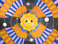 Cosmic Sun loop colorful cute flat rays cosmic outerspace stars planet space render illustration design character sun c4d animation 3d