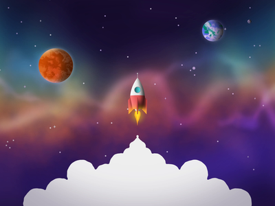 Space Travel illustration vector motion design 3d animation 2d space planets nebula rocket ship smoke cute mars earth travel colorful stars flying ui