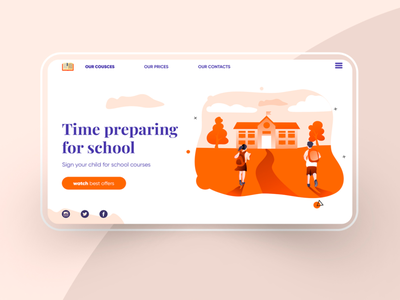 Tilda Splash — Online School illustrator minimal tilda website web design