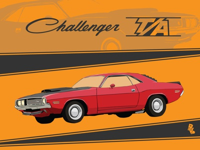 Dodge Challenger Vector road red car cars dodge challenger challenger dodge orange design vexel vector art vector