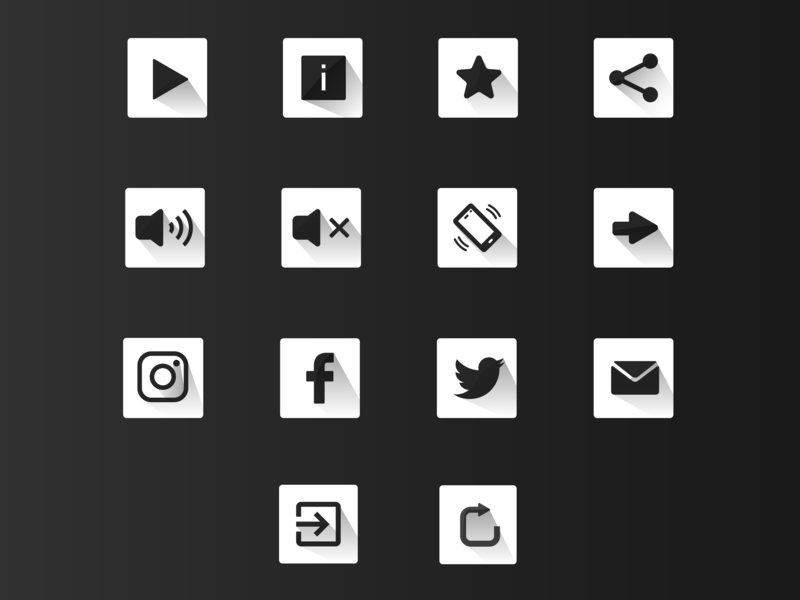 Curavity Icon set white black gray game retry exit email twitter icon facebook instagram back mute share button share star icon rate star info icon play icon