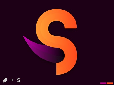 S + Leaf letter branding design flower leaf purple orange logo design logo saffron