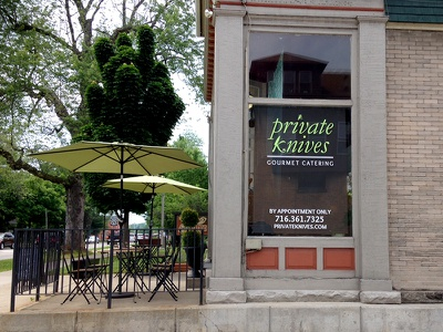Private Knives window store branding logo