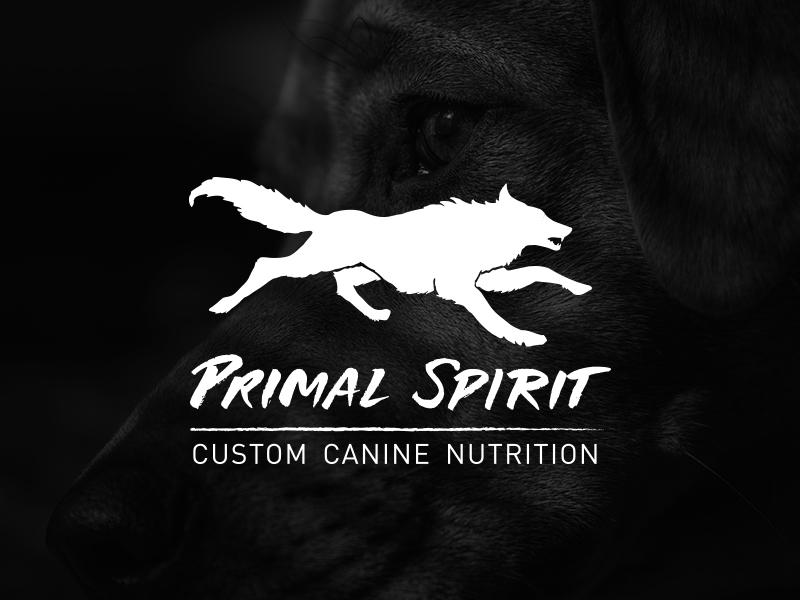 Primal Spirit wolf lockup hand lettering identity logo branding