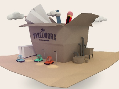 Factory illustration lowpoly 3d