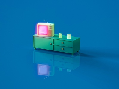 1970's TV and Dresser 1970s 70s keyshot 3d zbrush dresser tv