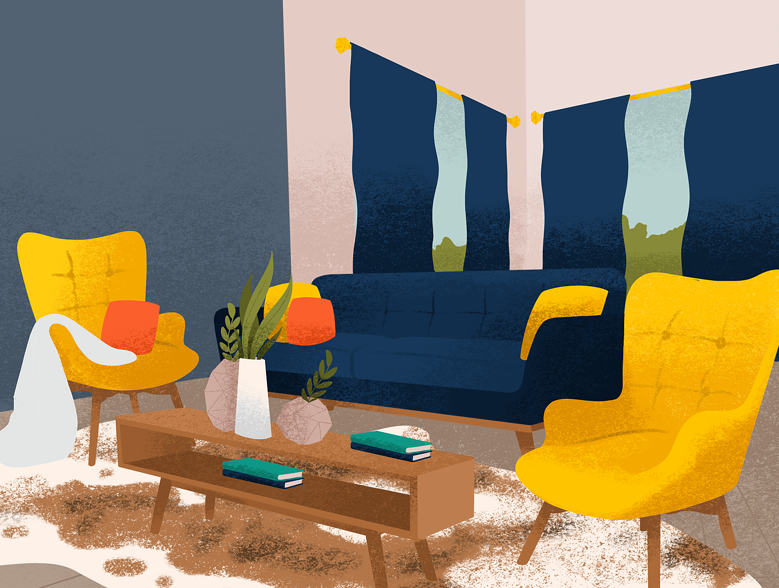 Mid Century Modern Living Room Illustration By Lauren