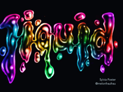 Lettering with liquid effect