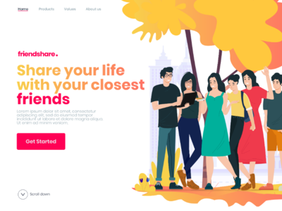 Friendshare. landing page concept character drawing illustrations ux ui