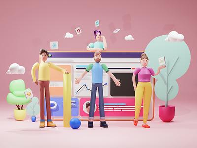 Dev team 3d art web3d 3d character branding designing illustration