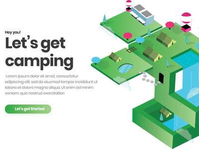 isometric illustration Camping Web Ui