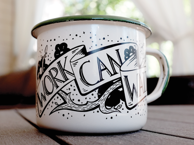 """Work can wait"" enamel mug enamelware mug swag illustration"