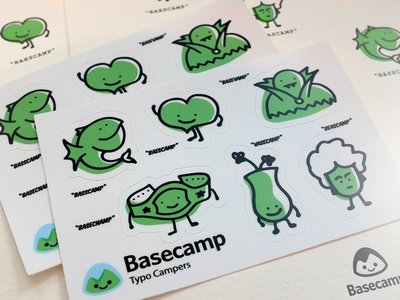 Typo Campers letterpress stickers illustration