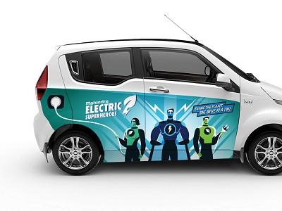 Mahindra Car branding energy superheroes superhero comic car branding vehicle design car branding design illustration