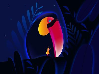 Heaven 07 plants girl toucan heaven design illustration