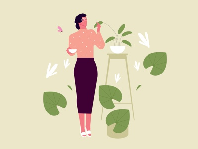Lady around the plants @noansa uidesign uiux lady plants design illustration