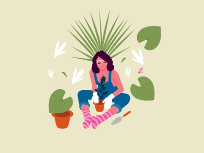 Lady around the plants minimal branding ui plants lady design illustration