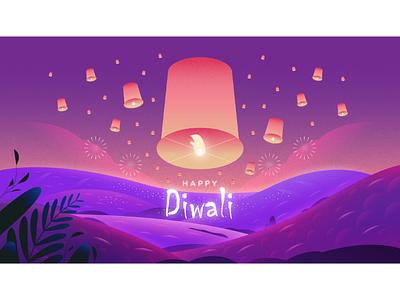 Happy Diwali background plants 2020 fire works sky lamp diya design illustration india festival happy diwali diwali
